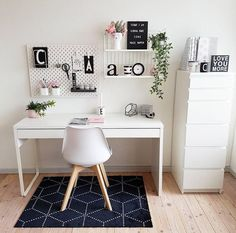 WORKSPACE in white what a dream by ! Please check out her feed Thank you so much for participating my sfs . - Architecture and Home Decor - Bedroom - Bathroom - Kitchen And Living Room Interior Design Decorating Ideas - Study Room Decor, Cute Room Decor, Room Ideas Bedroom, Home Decor Bedroom, White Desk Bedroom, Study Rooms, Home Office Space, Home Office Design, Home Office Decor
