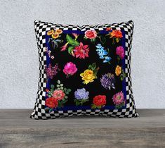 Black & White Checkerboard with Vintage Flowers Pillow Cover, Vintage Chic, French Country, Large Cushion, Accent Pillow, Decorative Pillow Large Cushion Covers, Cushion Cover Designs, Large Cushions, Floral Cushions, Throw Pillow Cases, Pillow Covers, Throw Pillows, Flower Pillow, Cotton Pillow