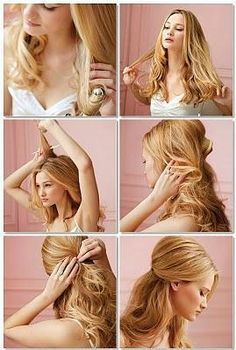 Pretty blonde curly vintage hair style.