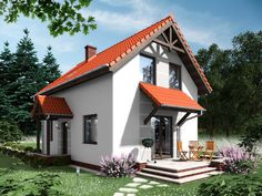 DOM.PL™ - Projekt domu ARD Stokrotka 1 CE - DOM RD1-42 - gotowy koszt budowy Small Wooden House, Home Fashion, Malaga, Gazebo, Home Goods, House Plans, Outdoor Structures, Cabin, Architecture