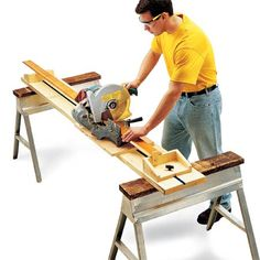 Woodworking Miter Saw Workshop Organization Tips - Step by Step: The Family Handyman -- Full Feature Miter Saw Stand - 5 one day projects to improve your shop Workbench With Storage, Lumber Storage, Tool Storage, Workbench Ideas, Workshop Storage, Workshop Organization, Organization Hacks, Workshop Ideas, Wood Workshop