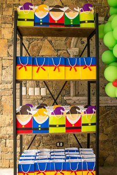 Our industrial shelving with the seven dwarfs  Available for rent!                                                                                                                                                                                 More
