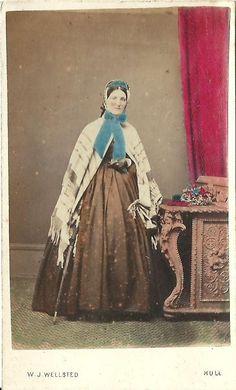 CDV Photo Victorian Woman in Great Fashion Hoop Dress Shawl Superb Hand Tint Hull, England | eBay