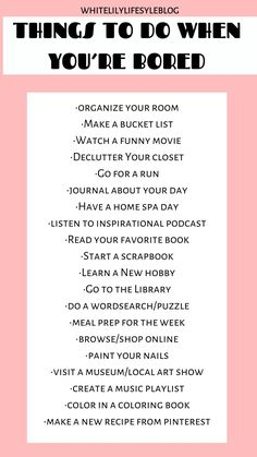 List of things to do when you're bored and need some self-care time. Fun things to do when you have free time. to do when bored at home fun Things to Do When You're Bored Productive Things To Do, Things To Do At Home, Stuff To Do, Fun Things, Random Things To Do, Self Care Activities, Activities To Do, Bored Jar, Bored Kids
