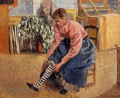 Woman Putting on Her Stockings Artist: Camille Pissarro Completion Date: 1895