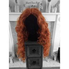 MERIDA cosplay wig. Auburn color long curly wig. Adult costume wig. ($78) ❤ liked on Polyvore featuring beauty products, haircare and hair styling tools