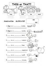 English worksheet: THIS or THAT? + ADJ