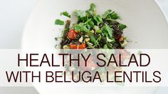 Healthy salad with beluga lentils