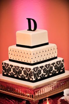 Square black and white wedding cake