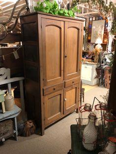 Antique Oak Orig Knock Down 2 Door Wardrobe Armoire Closet Hopper Sioux City Ia Armoires & Wardrobes 1800-1899