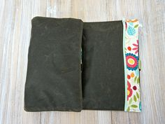 Large Makeup Organizer Bag - Wax Coated Cosmetic Roll Bag -  Olive Green Travel…