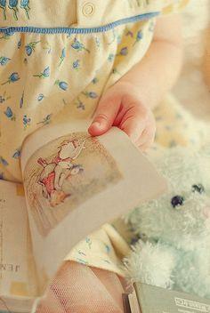 little girl reading beatrix potter Beatrix Potter, Little People, Little Ones, Little Girls, I Love Books, Good Books, Yellow Cottage, Storybook Cottage, Kids Reading