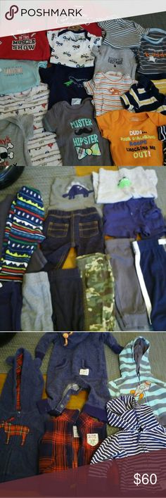 BABY BOY CLOTHES. ALL NAME BRANDS. NEWBORN-6 MONTH I have a huge lot of baby boy clothes.   All name brands- Gap, Carters, Old Navy, Osh Kosh, Carhartt, Target, & more.   Nothing has been worn more then twice and some outfits still have tags!!   There are over 60 short & long sleeved onesies, 20 pairs of pants/sweats, 5 hoodies, 2 junpsuits & 14 pairs of pajamas.   There are also some brand new beanies, socks, and baby sunglasses.   I can send more pictures of everything if you are…