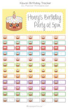 Birthday Tracker Printable stickers,EC Planner Set, Planner Stickers, Erin Condren, Instant Download