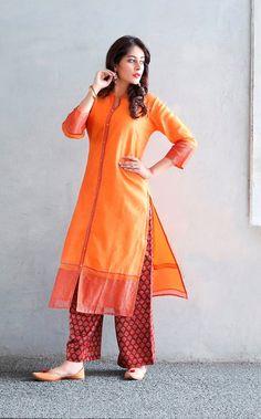 #festive #colour #vibrant #orange #deepred #striking #silk #chanderi #kurta #palazzo #jutties #leather #womenswear #occasionwear #Fabindia