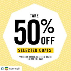 #Repost @sportsgirl with @repostapp.  Rug up buttercup! Staying snug just got easy with 50% off selected coats. Shop your style now in store & online. Prices as marked limited time only.
