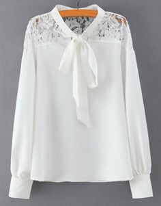 Graceful Long Sleeve Bow Tie Collar Hollow Out Solid Color Lace Spliced Blouse For Women