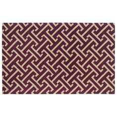 Kaleen Revolution Greek Key Wool Rug, Dark Red