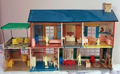 Vintage Marx Tin Litho Doll House 1950's  Furniture Family Canopy  #Marx #Modern