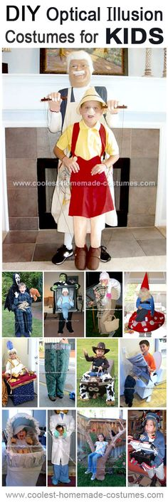 Top 13 Optical Illusion Unique Halloween Costumes for Kids - Kids Costumes Original Halloween Costumes, Homemade Halloween Costumes, Halloween Kids, Halloween 2017, Halloween Makeup, Halloween Party, Halloween College, Diy Halloween Games, Halloween Tricks