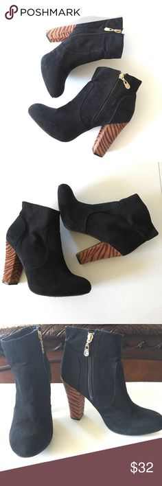 """Guess Black Booties Preowned-in very good condition Guess booties with tiger striped 4"""" heel. Embellished in gold side zip-ups, black suede and pony hair heels. Size 8.5, aren't these A✨adorable? . Guess Shoes Ankle Boots & Booties"""