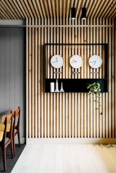 David Flack of Flack Studio - The Design Files Wood Slat Wall, Wood Slats, Wooden Walls, Wood Paneling, Wood Slat Ceiling, Ceiling Panels, Panelling, Ceiling Cladding, Flack Studio