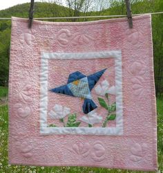 Center: pieced bird; would like to use this setting for the mama and baby bird in Last minute Patchwork setting