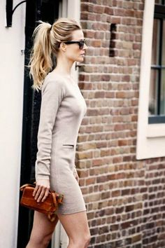 sweater dress, high ponytail, and classic sunnies