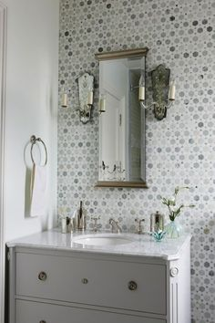 Sarah Richardson Design - Stunning bathroom with white bathroom vanity with marble top, ...