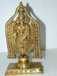 Tirupati Balaji Brass Statue Figurine Sculpture Meditation Idol Yoga Room Decor