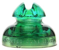 CD 292 JUNE 1890 (glass insulator) Color: Yellow Green Description: Two small base bruises. Kind of a two tone, with an almost completely aqua top, and a green bottom! Electric Insulators, Glass Insulators, Antique Glass, Rare Antique, Drilling Holes, Two Tones, Insulation, Decorative Bells, Bottles