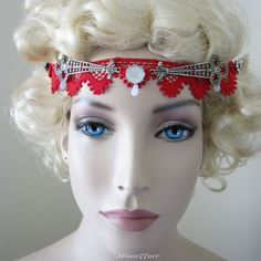 Red Lace Burlesque 1920's Inspired Flapper Headpiece with Diamantes by Missie77art Jewellery on eBay $74.95