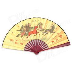 MDCG001 Horses Pattern Bamboo + Paper Folding Fan - Light Yellow + Multicolored