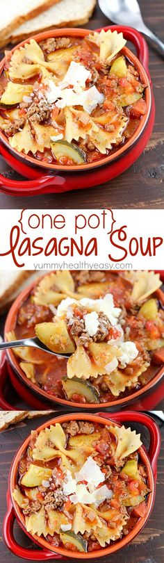 This easy one-pot lasagna soup is the perfect family-pleasing comfort food dinner! So delicious and incredibly easy to make! One pot and done. :) recipe recipe easy recipe with ricotta roll ups rolls soup Crock Pot Recipes, Cooker Recipes, Soup Recipes, Dinner Recipes, Lasagna Recipes, Recipies, I Love Food, Good Food, Yummy Food