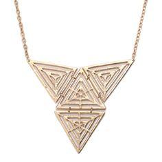 Gold Matte Pyramid Necklace! #GoldJewelry #InspiredSilver #Gold #Jewelry  #Necklace http://www.inspiredsilver.com/
