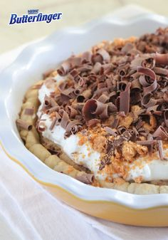 For a simple and delicious dessert that is perfect for any occasion, make a Peanut Butter Butterfinger Cream Cheese Pie. Top your pie with whipped cream, crispety, crunchety, peanut-buttery BUTTERFINGER® candy bars and chocolate curls to add a festive and flavorful touch.