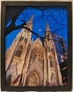 """""""Moon Over St. Patrick's"""" Color photograph taken at St. Patrick's Cathedral, NYC."""