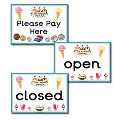 Ice Cream Parlour signs.