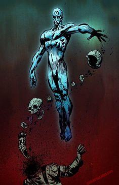 Dr Manhattan is dark Comic Book Characters, Comic Character, Comic Books Art, Comic Art, Gotham City, Manhattan Wallpaper, Geeks, Dr Manhattan, Arte Dc Comics