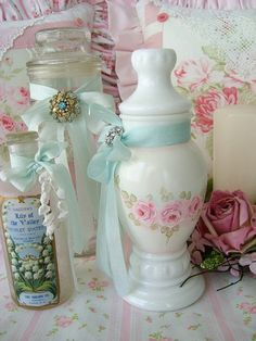Hand Painted Roses Apothecary Jar by sweetnshabbyroses on Flickr.