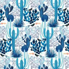 Cloud9 Moody Blues cactus fabric - organic cotton print - 1/2 YD
