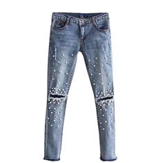 Knee Hole Stretch Jeans for women Beads Pearl skinny denim pants casual Slim Fit Rivet ripped Trousers Mid Waist Cowboy #Affiliate