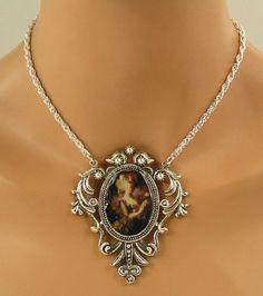 Trachtenschmuck Dirndl Gothic Kette Marie Antoinette Collier Cabochon Gemme Antikstil: Amazon.de: Schmuck
