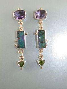 Purple Earth Iolite Opal and  Peridot by AnnaBlakeFineJewelry