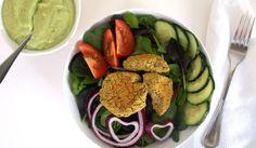 Baked Falafel Salad + Two Creamy Dressings