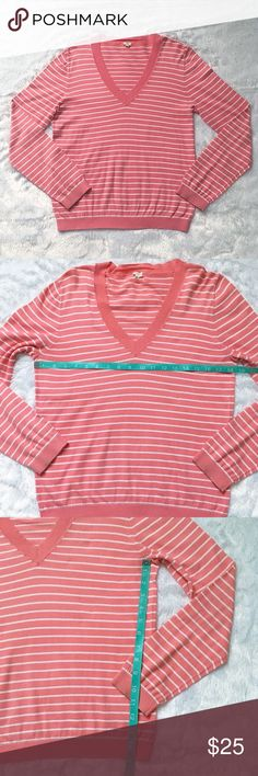 Bubblegum Pink J. Crew Striped Cotton Sweater Bubblegum Pink J. Crew Striped Cotton Sweater, size large.  Worn a small handful of times and in excellent condition.  💯 percent cotton.  See pictures for measurements. 😊 J. Crew Sweaters