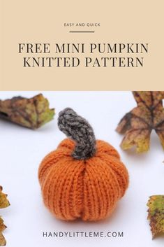 Pumpkin knitting pattern. Make a small knitted pumpkin for your fall decor. Get the free knitting pattern and see how quick it is to make one of these little pumpkins! #pumpkin #knittingpattern #pumpkinpattern #pumpkindiy #fallpumpkin Winter Knitting Patterns, Free Knitting Patterns For Women, Crochet Patterns, Crochet Ideas, Stocking Stitch Knitting, Knitting Stitches, Easy Knitting Projects, Crochet Projects, Diy Projects