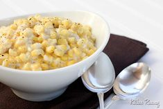 Creamed Corn-I adjusted this recipe! I used 2 drained cans of corn and about 1/2 cup of 2% milk (used NO cream) a couple of Tablespoons of Cream Cheese, and corn starch instead of the flour. I also added more sugar, probably 3T total.