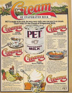 "Pet Evaporated Milk ad, 1978 , originally uploaded by Gatochy . Scanned from Taschen's ""All-American Ads of the . Click image for 672 . Vintage Humor, Vintage Ads, Vintage Posters, Vintage Items, Vintage Food, Vintage Menu, Vintage Images, Vintage Prints, Vintage Kitchen"