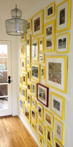adventures of an almost 40 year old intern...: d.i.why not? bright yellow gallery wall